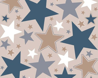 Zoe Pearn for My Mind's Eye Riley Blake, Star Main Tan Fabric 1/2 Yard
