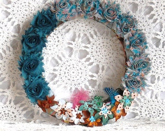 Wall, Entry or Door Wreath, Floral Arrangement, Door Decor, Wall or Door Hanging, Shabby, Cottage Flower Arrangement, Primitive