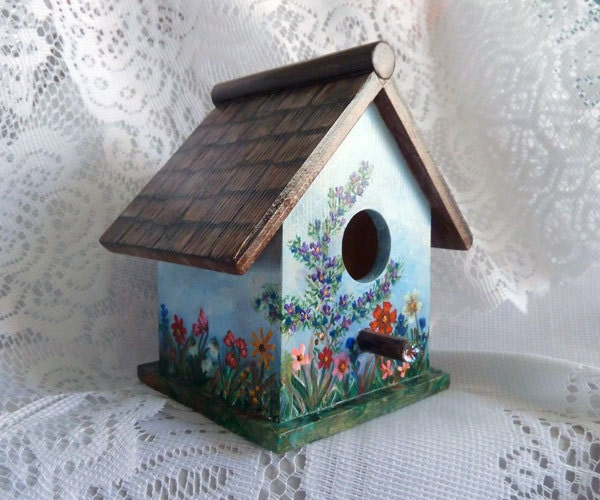 Bird House Small Bird House Hand Painted Birdhouse