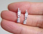 Sterling Silver Love Ear Studs with Cubic Zirconia, Boyfriend Girlfriend Jewelry, Special Gift