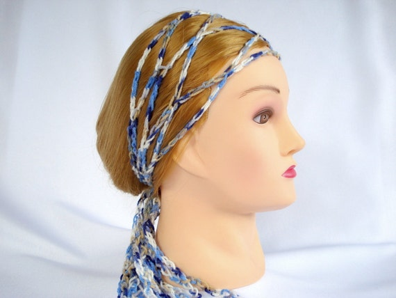 Crochet Hair Wrap : Crochet headscarf head wrap scarf Gypsy Hippie trellis hair band ...
