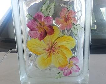 Hand-painted Glass Block Lamp