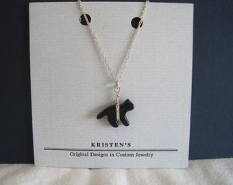 Black Cat Glass Necklace with Sterling Silver