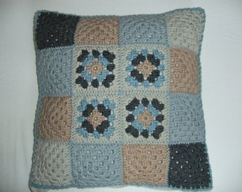 cushion cover with crochet granny squares