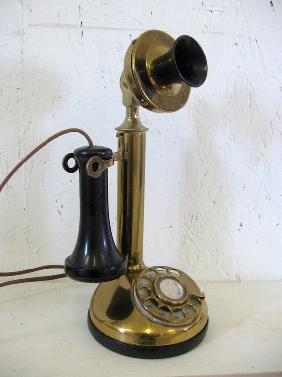 vintage rotary brass candlestick telephone art deco style. Black Bedroom Furniture Sets. Home Design Ideas