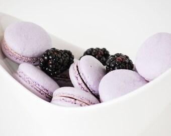 One Dozen Blackberry macaron