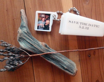 25 Save the Date Wedding Invitation Party Favor. Your Photo and Words. Each in Gift Bag.
