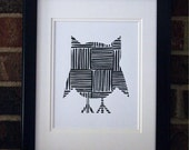 Black Crosshatch Owl 8 x 10 Print