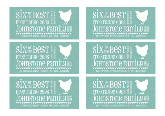 Items similar to a4 size pdf version of half dozen egg for Egg carton labels template