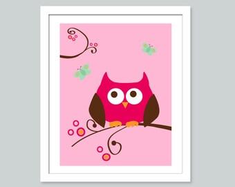 16x20 Pink Owl- Childrens Art Prints, Nursery Wall Art, Children decor, Wall art for kids and baby