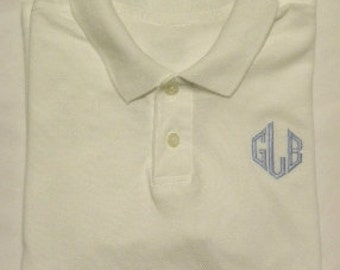 Made to Match Boys Monogrammed Polos, You pick the thread color