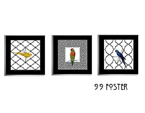 Greek Key Wall Decor : Items similar to moroccan lattice and greek key bird wall