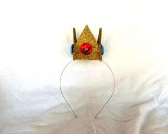 Princess Peach Crown, Gold, Mini, Tiny, Sparkle, Princess, Headband, Burlesque, Mario Bros, Child, Kid, Adult