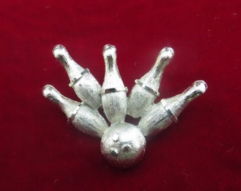 Vintage Bowling Brooch Cute GIFT for the Bowler MARKED BSK with Bowling Pins & Bowling Ball Fun Jewelry Pin Silver Tone
