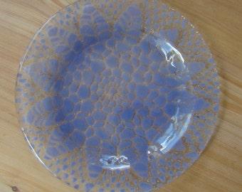Purple Pastel Dessert Plate, Fused Glass Plate, Purple Glass Plate, Doily Dessert Plate