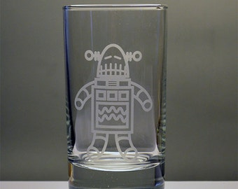 Kids Cute Robot Personalized Etched Juice Glass