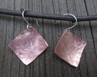 Hammered Copper Earrings, Square Earrings, Hammered Jewelry