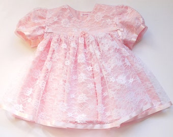 Faith - White Lace over Pink Crepe de Chine Baby Dress