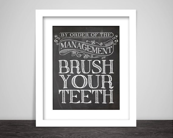 Brush Your Teeth Quotes: Kids Bathroom Art Baby Bathroom Brush Your By ButterflyPress