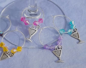 Martini Wine Charms - Set of 5 - crystal beads
