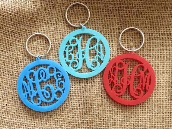 Custom Monogram Acrylic Keychain 3 Letters Monogram Gifts
