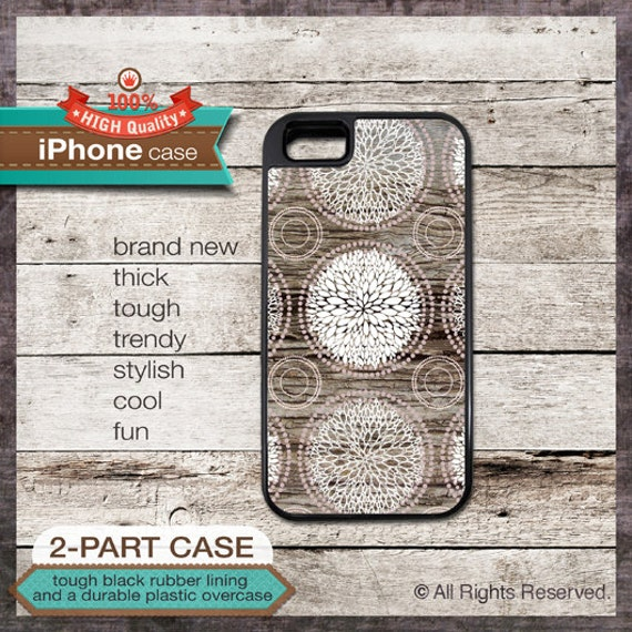 iPhone 6, 6+, 5 5S, 5C, 4 4S, Samsung Galaxy S3, S4 - Wood Effect Floral Art - Design Cover 76