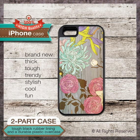 iPhone 6, 6+, 5 5S, 5C, 4 4S, Samsung Galaxy S3, S4 - Watercolor Effect Floral on Wood Art - Design Cover 89