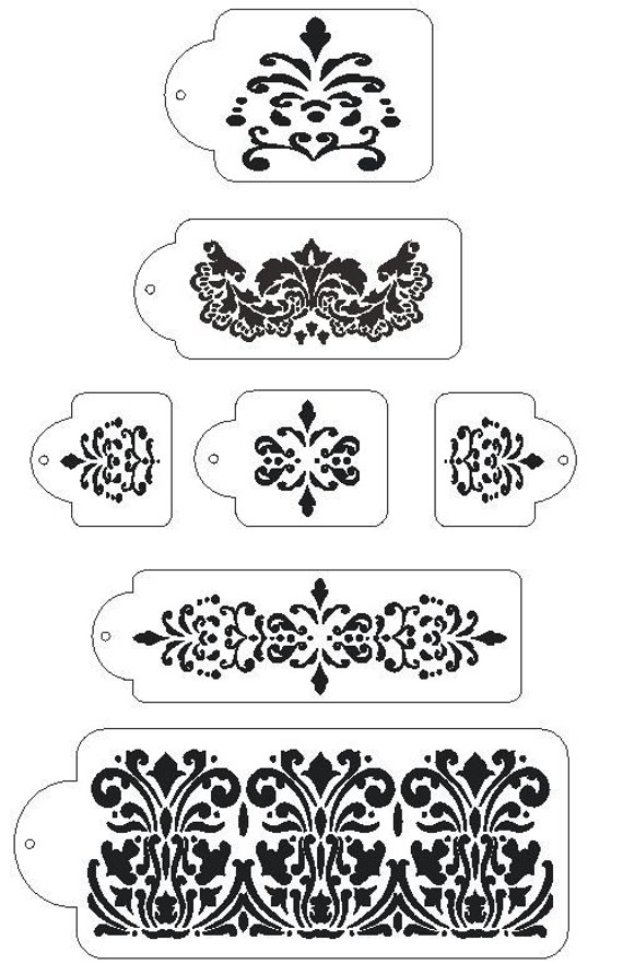 stencils for wedding cakes uk 7 pc damask 5 tier wedding cake stencil set by 20524