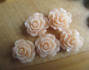 Peach Cabochon Rose Flower 14mm in diameter - glue on cabochon - ruffle flower - set of 5