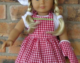 18 inch Doll Clothes - Apron, Chef's Hat, and Matching Oven Mitt