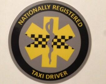 Nationally Registered Taxi Driver vinyl sticker