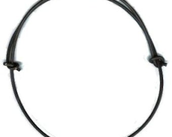 2mm Black Leather Cord Adjustable Knotted Necklace