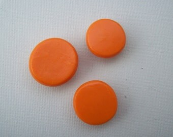 Set of three- Shiny orange button magnets