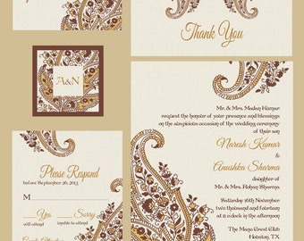 Paisley Motif - Chocolate and Gold - Indian Wedding Invitations
