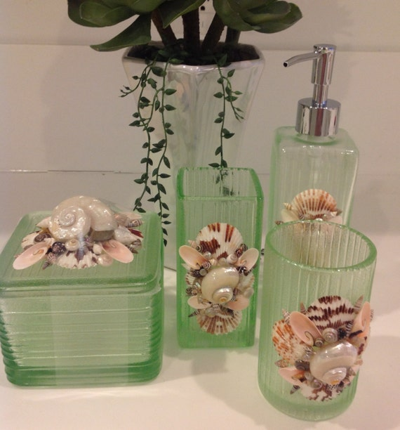 Seashell embellished bathroom accessories green by seagemart2 for Green glass bath accessories