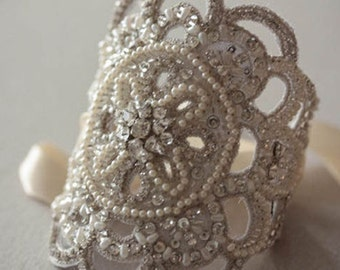Bridal Cuff -  Lilly  (Made to Order)