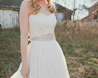 Bridal sash belt, Wedding sashes and belts, Wedding dress belt, Embroidered bridal dress sash  - Zash Style-2  18 inches (Made to Order)