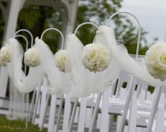 Wedding Ivory rose kissing balls pomanders, x10 job lot church pews ends ceremony decor beach wedding