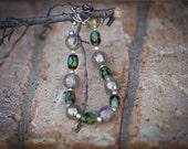 Silver & Green Glass Beaded Bracelet
