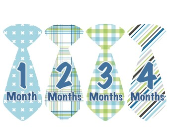 Monthly Baby Milestone Stickers Baby Month Stickers Baby Boy Blue Green Plaid Stickers Monthly Stickers Baby Shower Gift Photo Prop Anthony