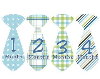 Baby Month Stickers Boy Monthly Milestone Stickers Blue Green Tie Stickers Monthly Bodysuit Stickers Baby Shower Gift Photo Prop Anthony3