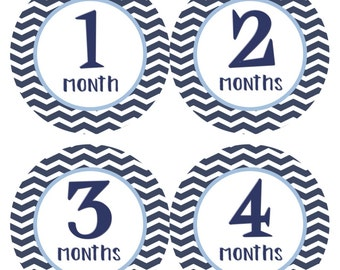 Monthly Baby Stickers Baby Month Stickers Milestone Stickers Blue Chevron Bodysuit Month Stickers Baby Shower Gift and Photo Prop William