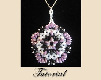PDF for Purple Passion Pendant Necklace - beadweaving beaded seed bead jewelry beading pattern tutorial