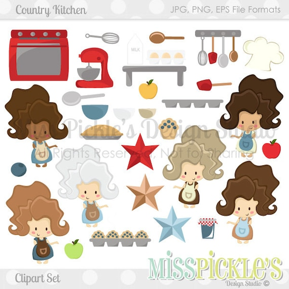 Country kitchen commercial use clipart set by misspicklesgraphics