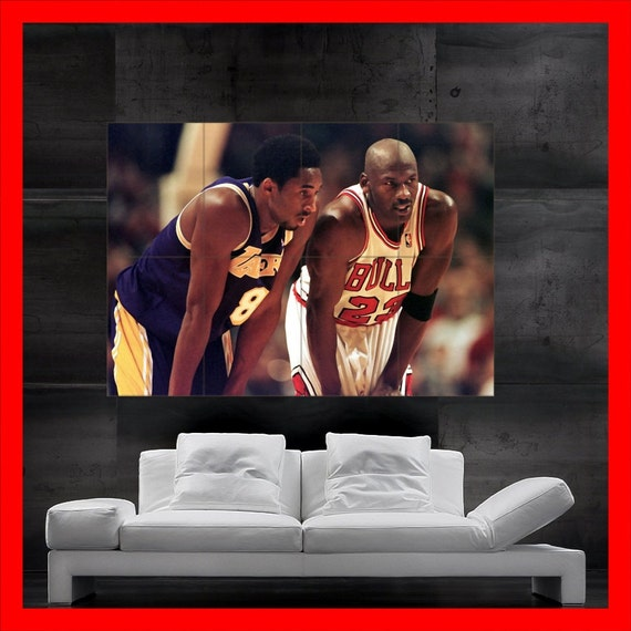 michael jordan vs kobe bryant poster print art 23 by romiposters. Black Bedroom Furniture Sets. Home Design Ideas