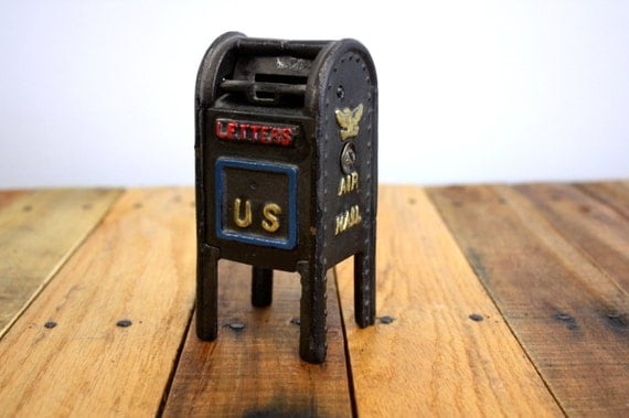 Vintage 1950s Cast Iron Standing Mailbox By