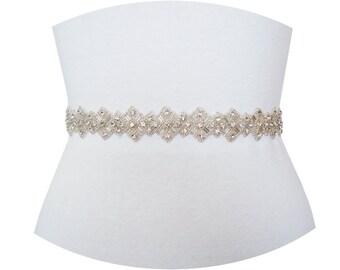 ALBA - Art Deco Crystal Rhinestone Sash, Wedding Crystal Belt, Bridal Beaded Belt, Bridesmaid Crystal Belts
