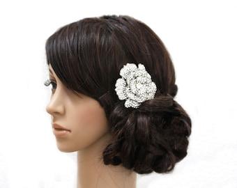 BRITTANY - Vintage Inspired Rose Swarovski Crystal Rhinestone Bridal Hair Comb, Rhinestone Wedding Haircomb, Bridal Headpiece