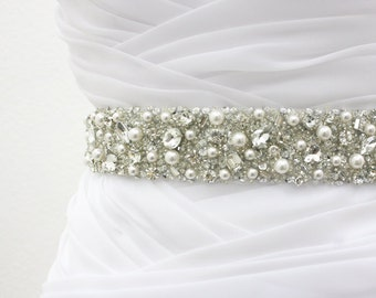 "Ready To Ship - MONACO II - 1 1/2"" Swarovski Pearls And Rhinestones Encrusted Bridal Sash, Wedding Beaded Belt, Crystal Belt"