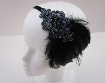 Black 1920s headband, black feather headpiece gray beading Pewter beading great gatsby style Flapper Art Deco Beading